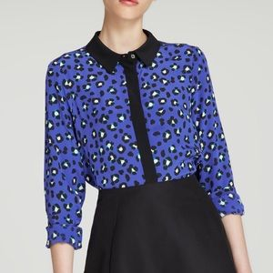Kate Spade New York Cyber cheetah silk blouse top